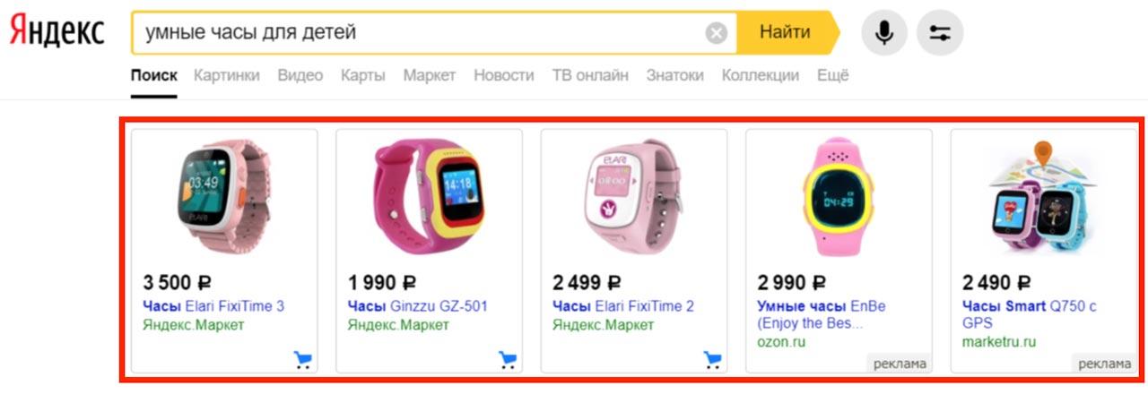 Товарная галерея Яндекс Директ